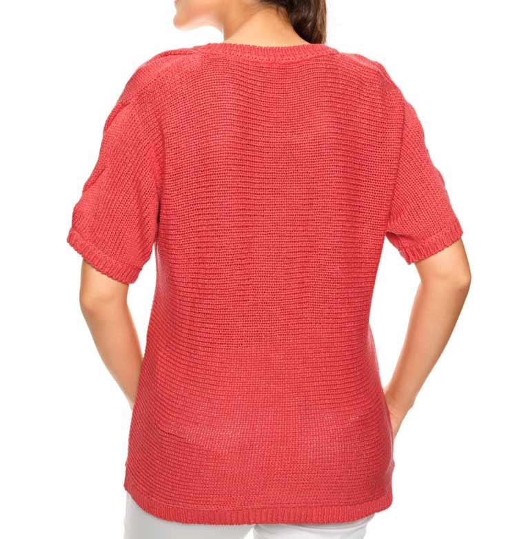 002.143a ASHLEY BROOKE Damen Designer-Grobstrick Pullover Koralle Zopfmuster Halbarm