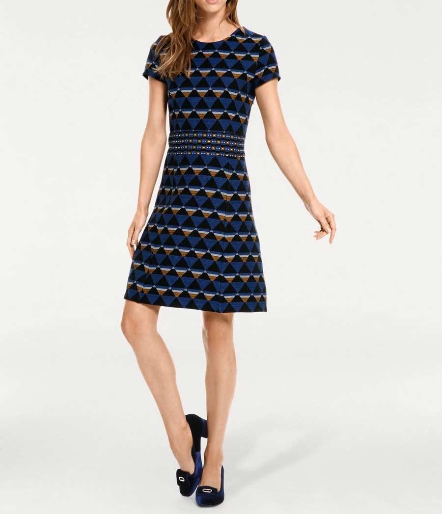 003.038a PATRIZIA DINI Damen Designer-Jacquardkleid Blau-Bunt Shift Minikleid Dress