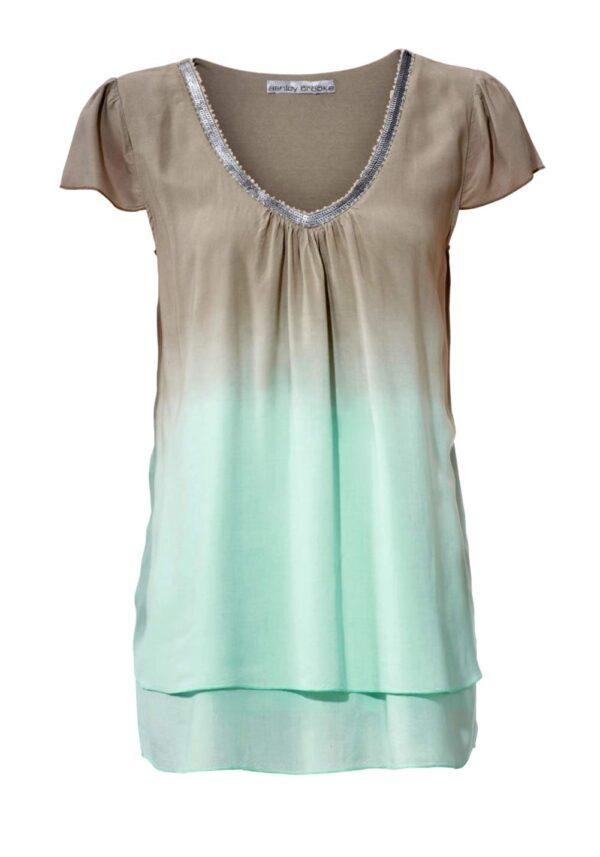 003.369 ASHLEY BROOKE Damen Designer-Blusenshirt Taupe-Mint