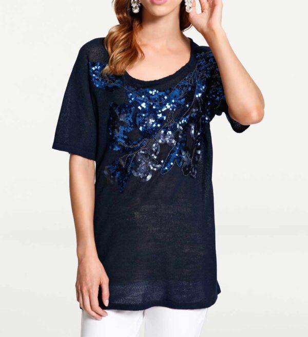 003.469 ASHLEY BROOKE Damen Designer-Paillettenpullover Nachtblau Halbarm Pullover Blau