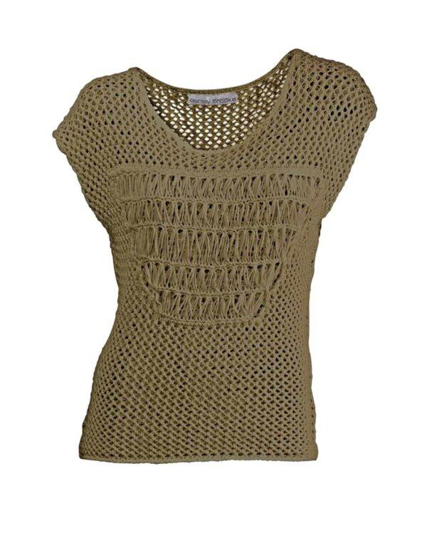005.012 ASHLEY BROOKE Damen Designer-Ajourpullover Khaki Pullover Halbarm Baumwolle