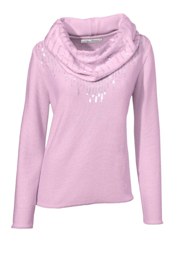 006.153a ASHLEY BROOKE Damen Designer-Pullover + Schal Rosé