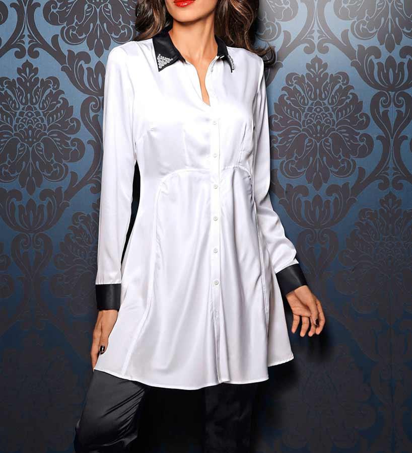 006.460 ASHLEY BROOKE Damen Designer-Satinbluse Weiß-Schwarz