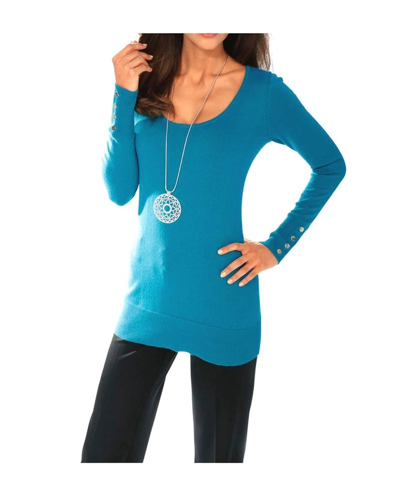 006.524 ASHLEY BROOKE Damen Designer-Rückendekolletépullover Türkis Baumwolle Seide