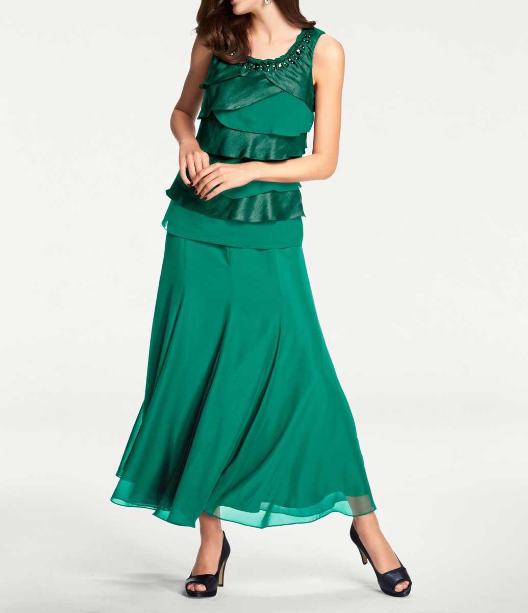 007.475 ASHLEY BROOKE Damen Designer-Maxirock aus Chiffon
