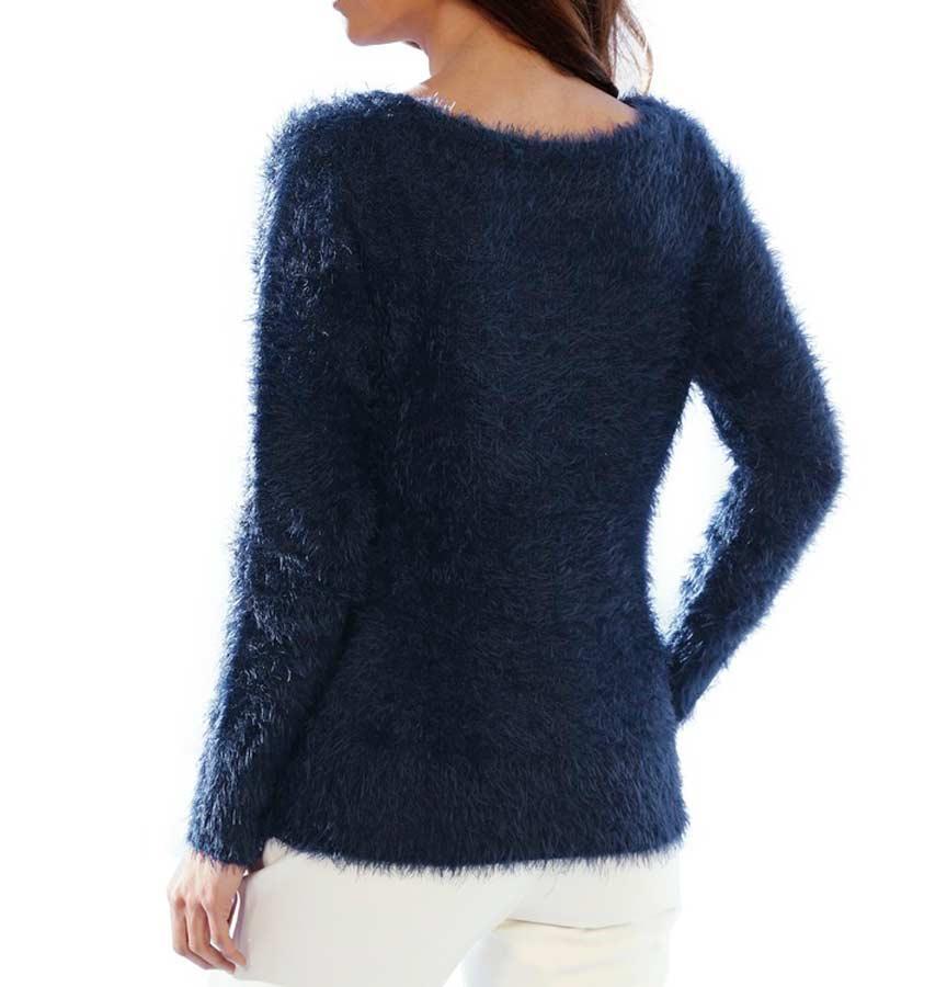 007.954 ASHLEY BROOKE Damen Designer-Flauschpullover Marine Blau Glitzer Pailletten TOP