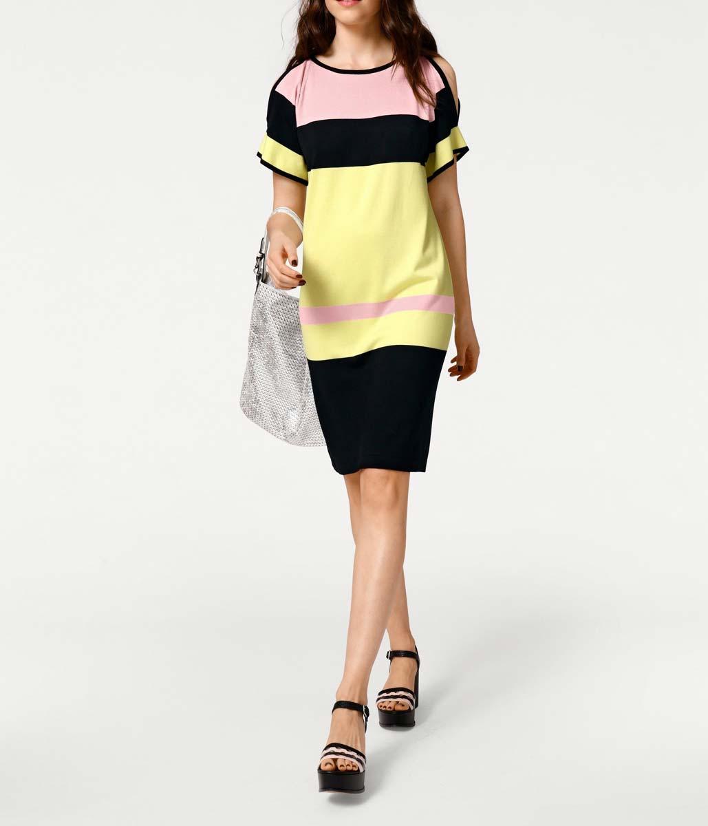 016.242 RICK CARDONA Damen Designer-Feinstrickkleid m. Cut-Outs Bunt