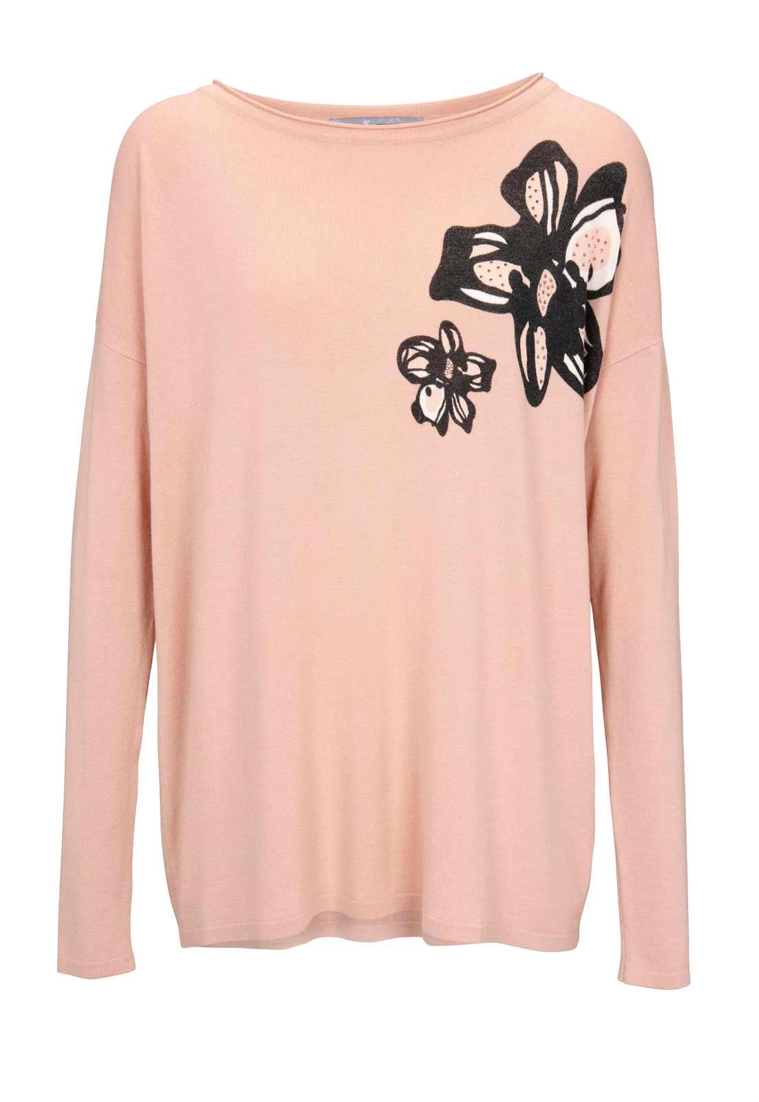 020.906 ASHLEY BROOKE Damen Designer-Feinstrickpullover Rosé Rosa Blumen Muster