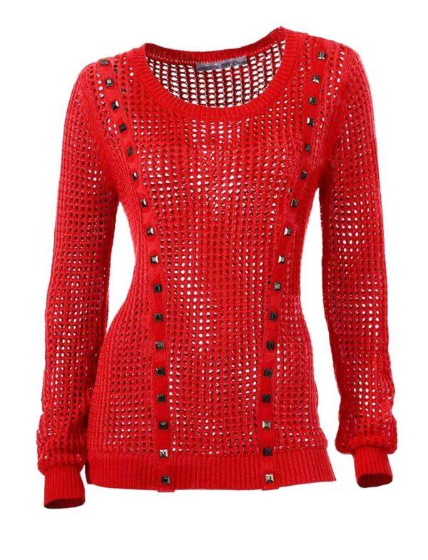 028.569 ASHLEY BROOKE Damen Designer-Pullover Rot Lochmuster Nieten Edel