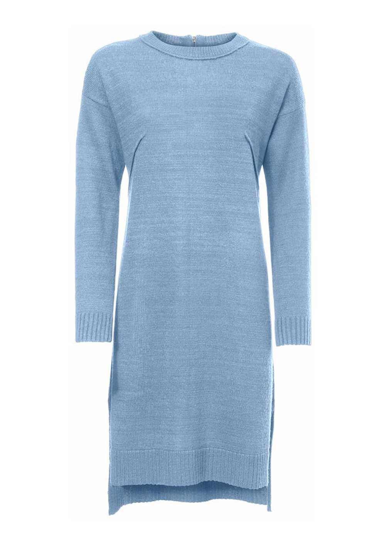 029.272 HEINE Damen Designer-Strickkleid Weiches Feinstrickkleid Stiefelkleid Hellblau