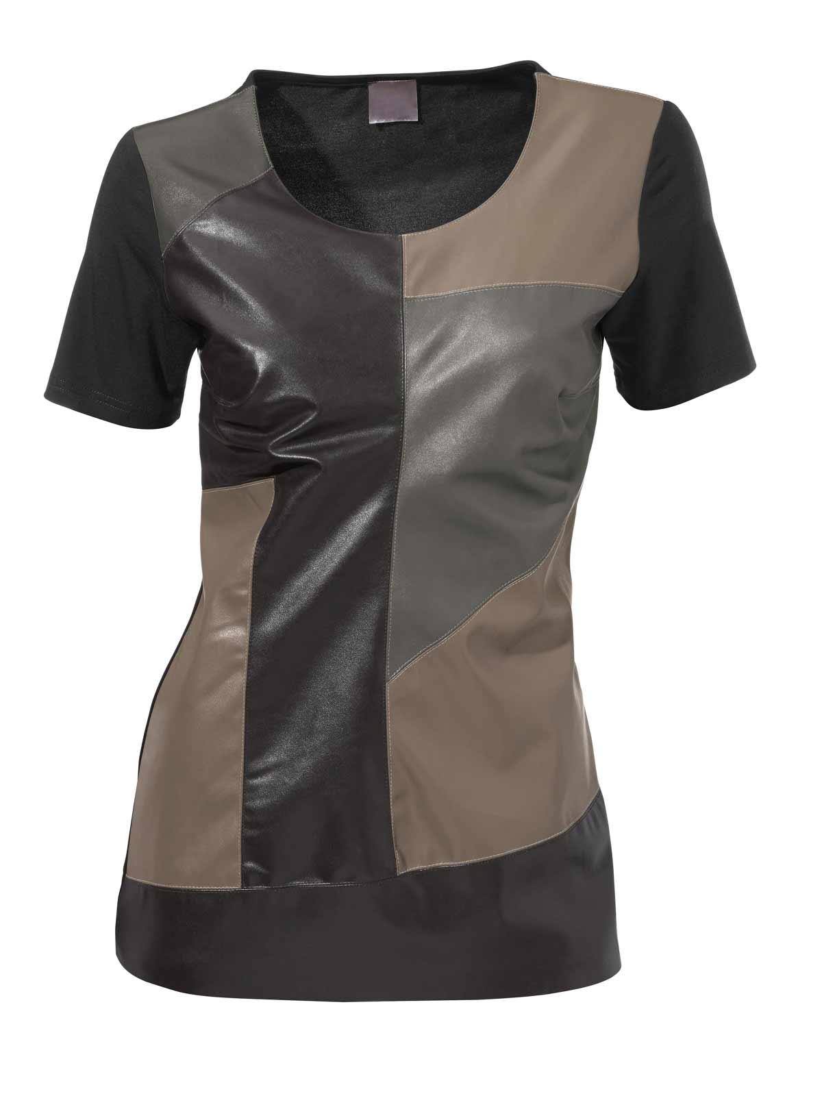 029.374 RICK CARDONA Damen Designer-Lederimitat-Shirt Schwarz-Taupe