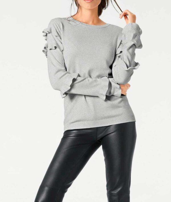 030.857 ASHLEY BROOKE Damen Designer-Pullover m. Rüschen Grau-Melange