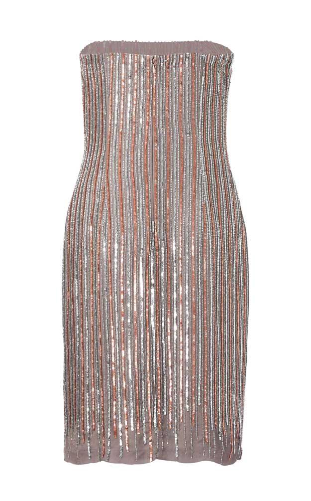 032.266 APART Damen Designer-Corsagen-Paillettenkleid Taupe