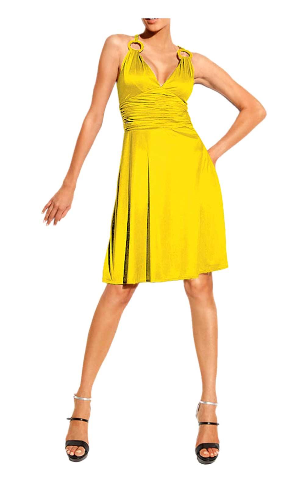 045.342 HEINE Damen Designer-Cocktailkleid Gelb