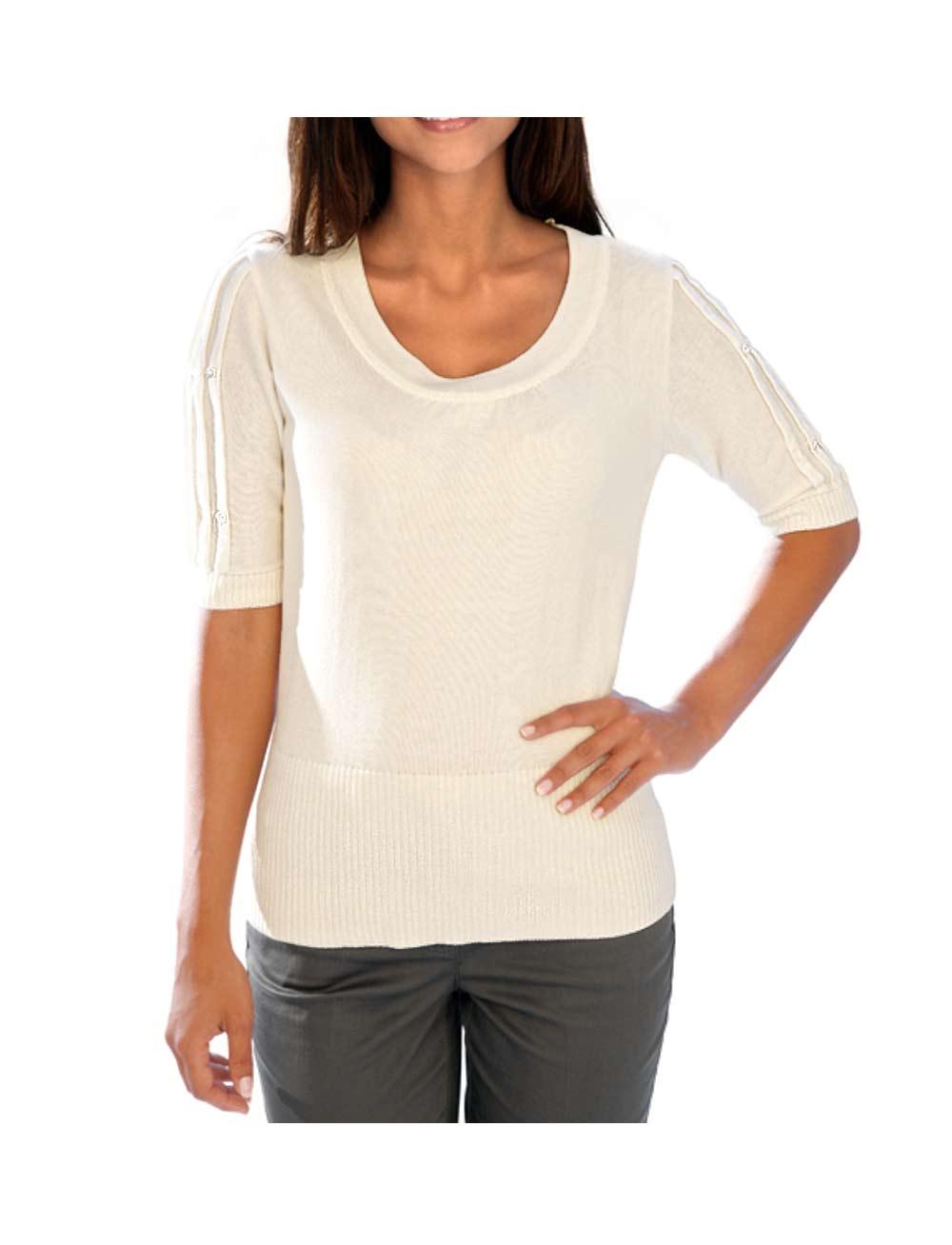060.160 ASHLEY BROOKE Damen Designer-Pullover Wollweiß Halbarm Pullover weiß creme