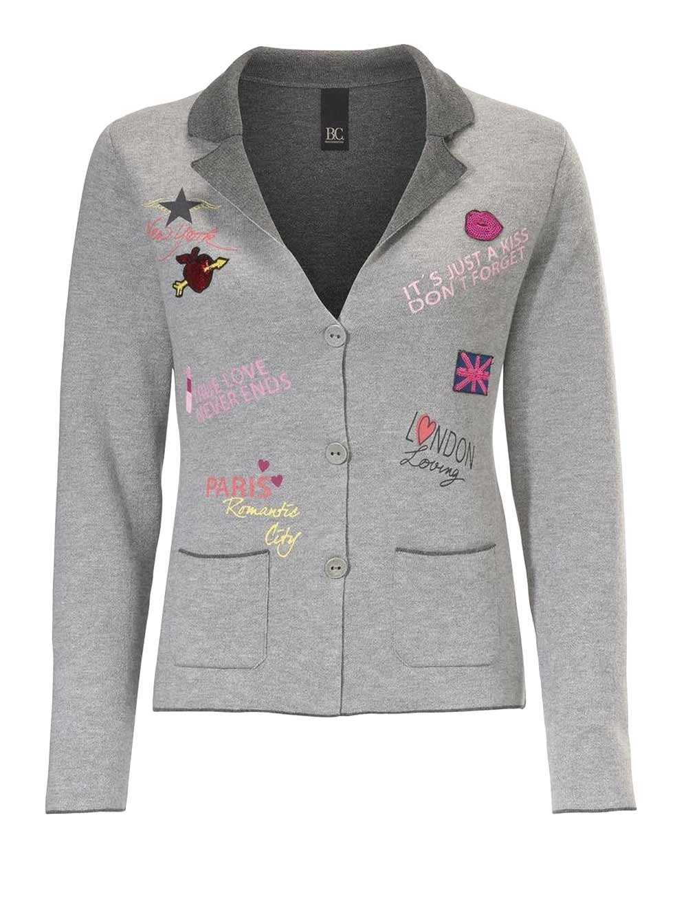061.676 HEINE Damen Designer-Cardigan m. Patches Grau