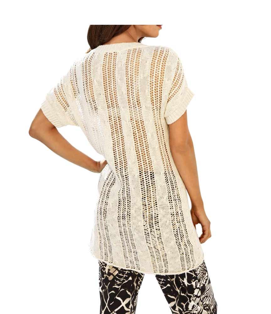 080.514 ASHLEY BROOKE Damen Designer-Ajourpullover Hellbeige Pullover Halbarm Pailletten