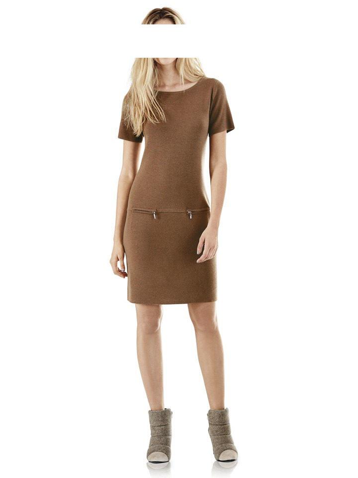 080.568 TRAVEL COUTURE BY HEINE Damen Designer-Strickkleid Camel