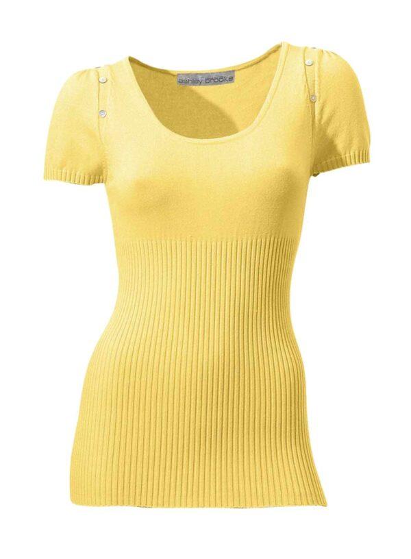 081.251 ASHLEY BROOKE Damen Designer-Pullover Gelb Halbarm Rippenstrick Perlmuttknöpfe