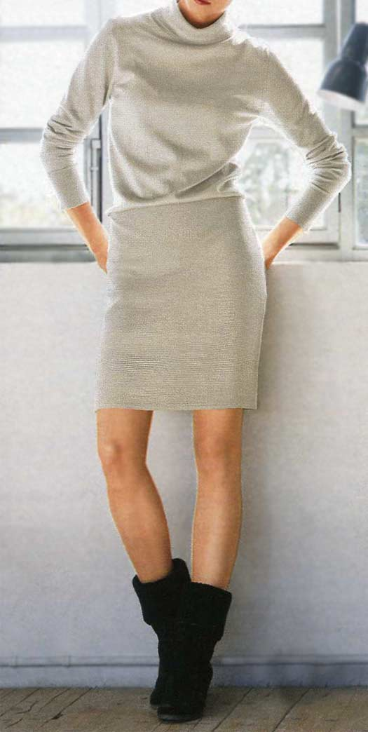 086.187 RICK CARDONA Damen Designer-Strickkleid Stein