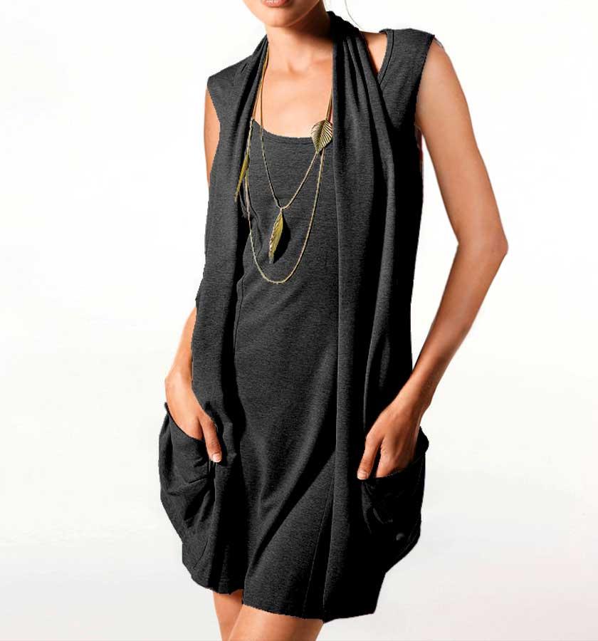 086.190 HEINE Damen Designer-Two-in-One-Longshirt-Minikleid Schwarz