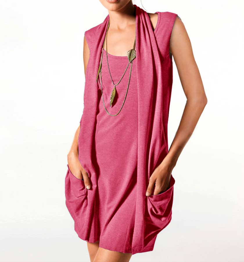 086.191 HEINE Damen Designer-Two-in-One-Longshirt-Minikleid Koralle