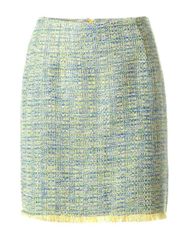 092.551 ASHLEY BROOKE Damen Designer-Bouclérock Minirock 42 - 52 Hellblau-Gelb