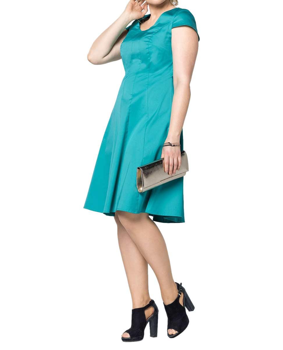 093.899 SHEEGO Damen-Bahnenkleid Türkis Minikleid Stretch Elasthan Weiter Ausschnitt