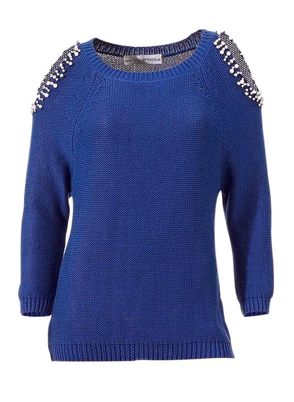 098.370 ASHLEY BROOKE Damen Designer-Pullover m. Perlen Royalblau Cut Outs Edel