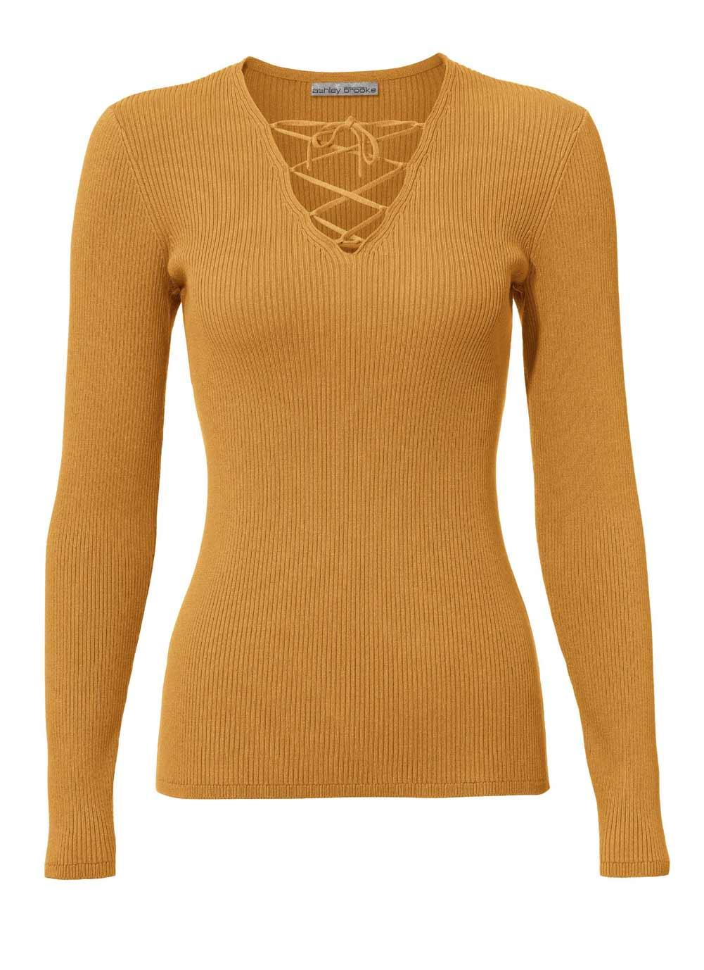 102.543 ASHLEY BROOKE Damen Designer-Rippenpullover Gelb