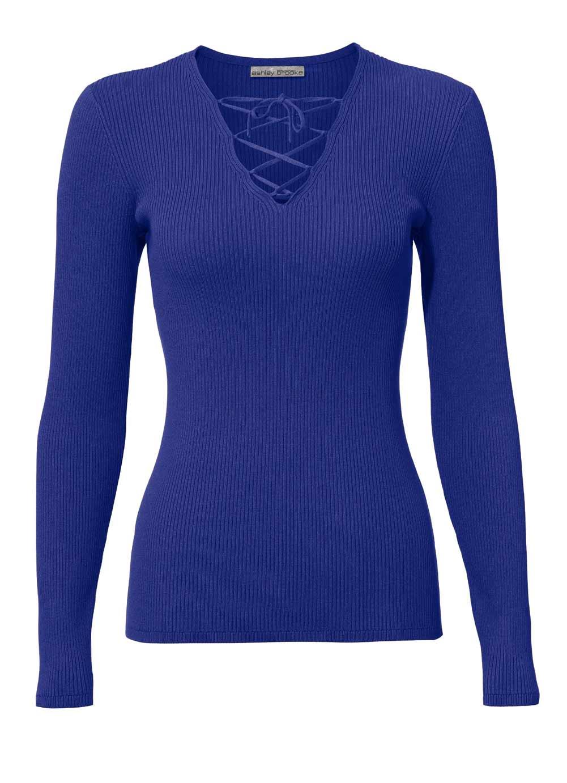 105.502 ASHLEY BROOKE Damen Designer-Rippenpullover Royalblau