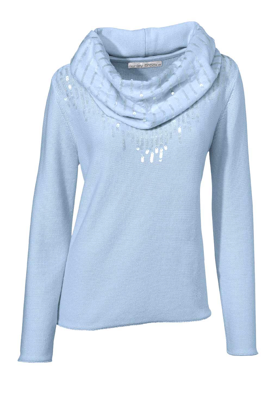 108.607 ASHLEY BROOKE Damen Designer-Pullover + Schal Hellblau