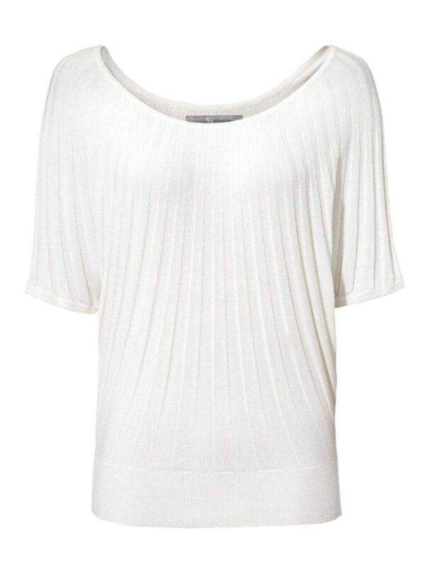 128.915 ASHLEY BROOKE Damen Designer-Fledermauspullover Weiß Fledermausärmel