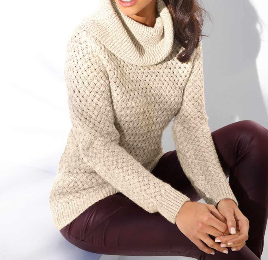 130.708 ASHLEY BROOKE Damen Designer-Pullover Offwhite-Gold