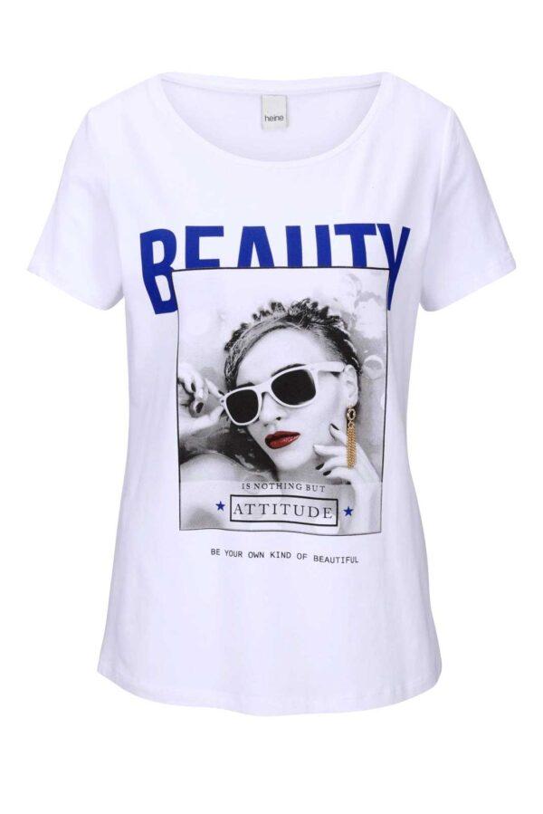 136.729 HEINE Damen Designer-Druckshirt m. Schmuck-Detail Weiß-Bunt