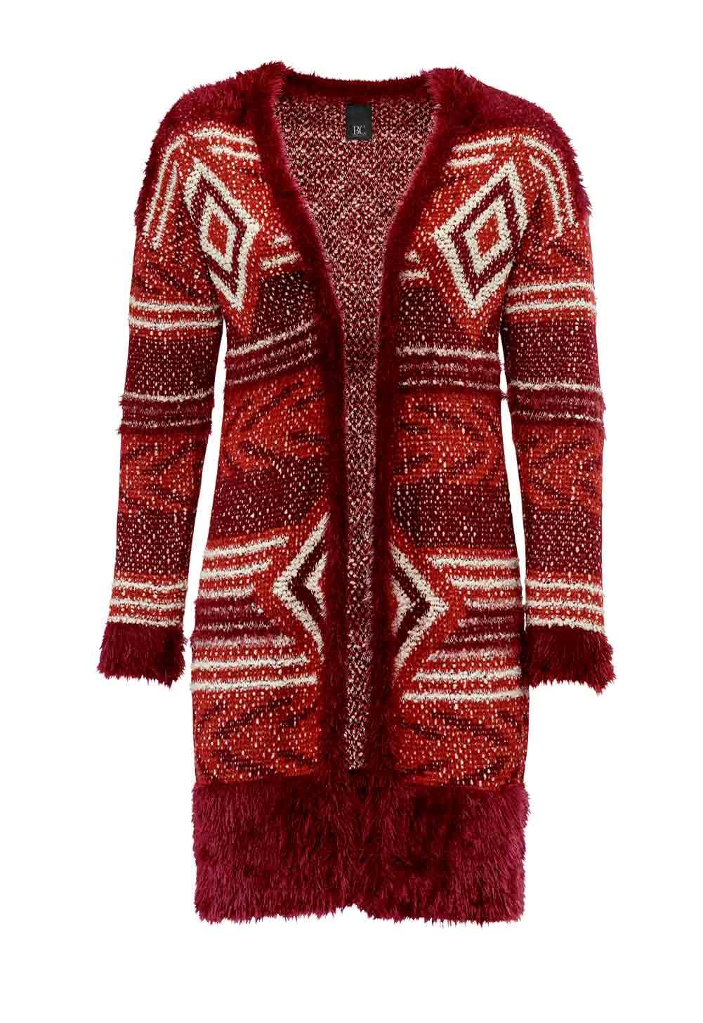139.936 HEINE Damen Designer-Strickjacke Bordeaux-Rot-weiß