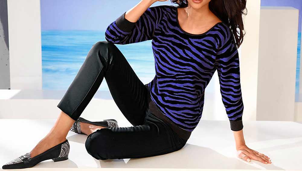 144.836 ASHLEY BROOKE Damen Designer-Pullover Lila-Schwarz