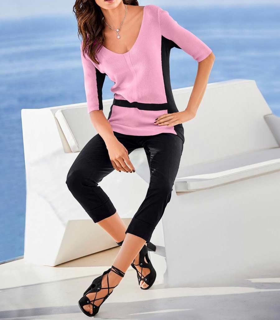169.870 ASHLEY BROOKE Damen Designer-Pullover Rosé-Schwarz