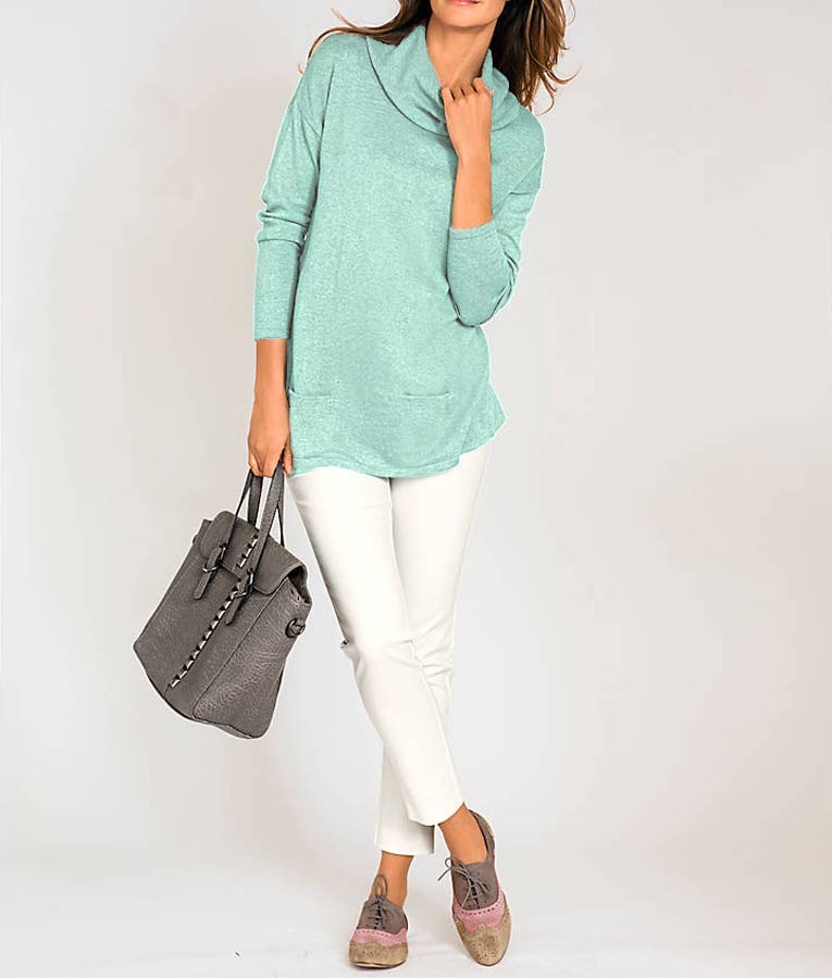 176.778 ASHLEY BROOKE Damen Designer-Rollkragenpullover Feinstrick m.Seide Rolli Mint