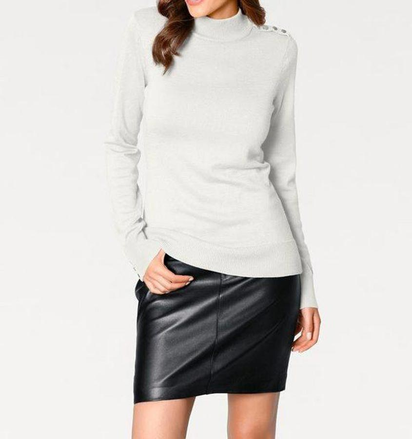 183.319 ASHLEY BROOKE Damen Designer-Pullover Offwihte