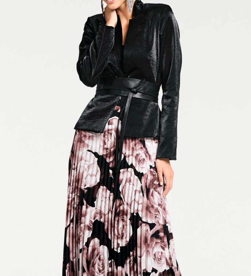 192.741 Ashley Brooke Damen-Damenblazer Kurz Changeantblazer Schwarz Glänzend