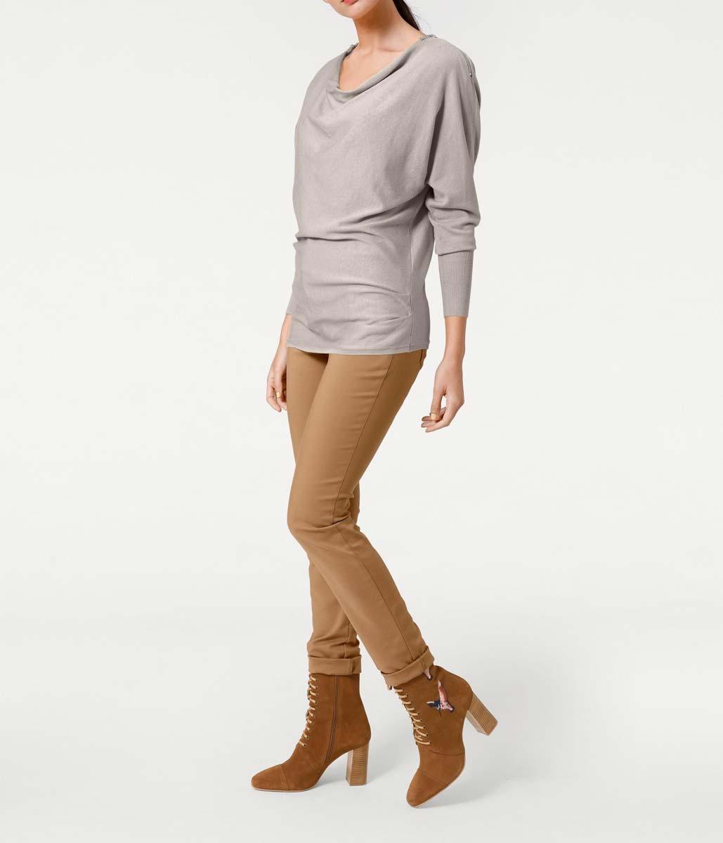 196.924 ASHLEY BROOKE Damen Designer-Reißverschlusspullover Kitt
