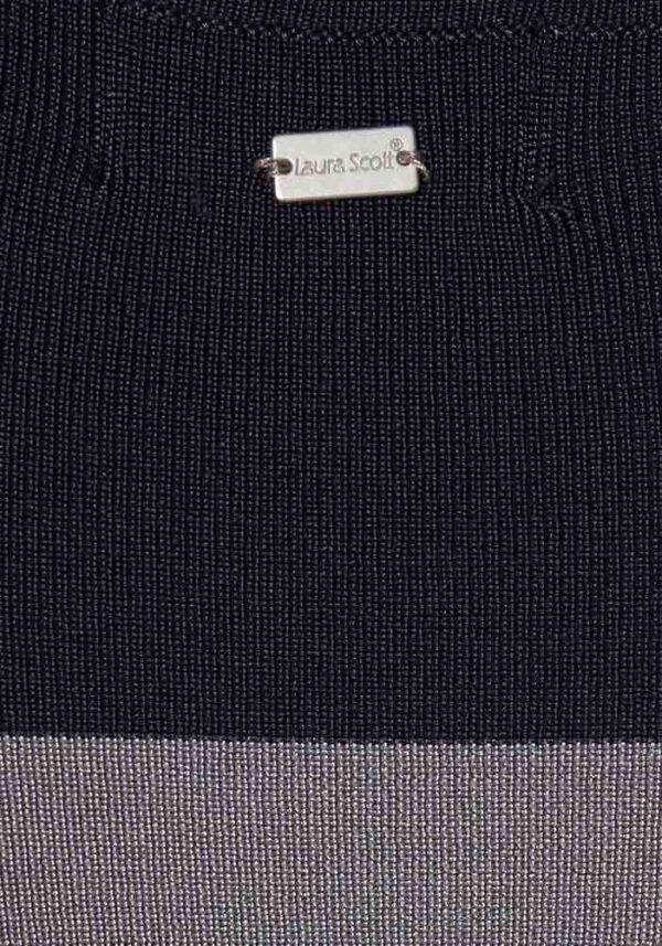 256.472 LAURA SCOTT Damen-Feinstrickkleid Schwarz-Blau