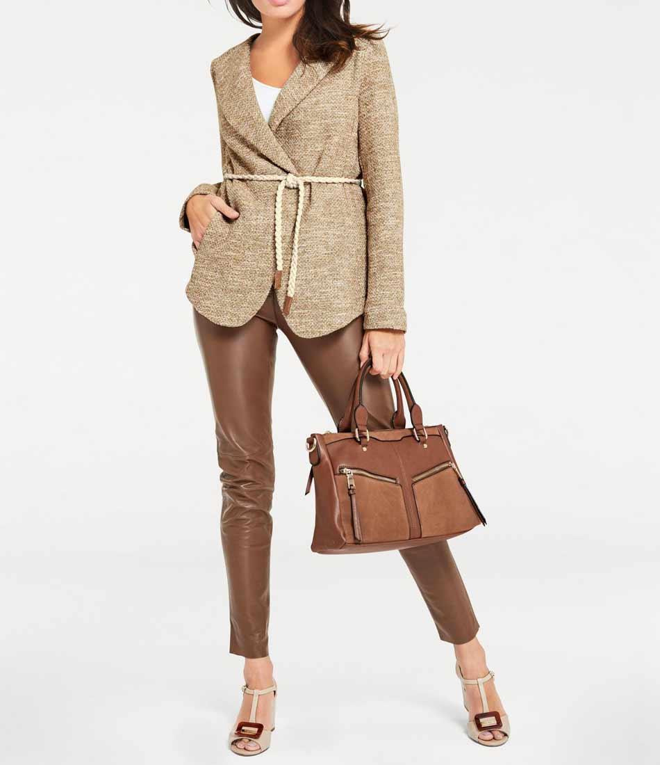 277.490 ASHLEY BROOKE Damen Designer-Blazer m. Gürtel Beige Business Blazerjacke