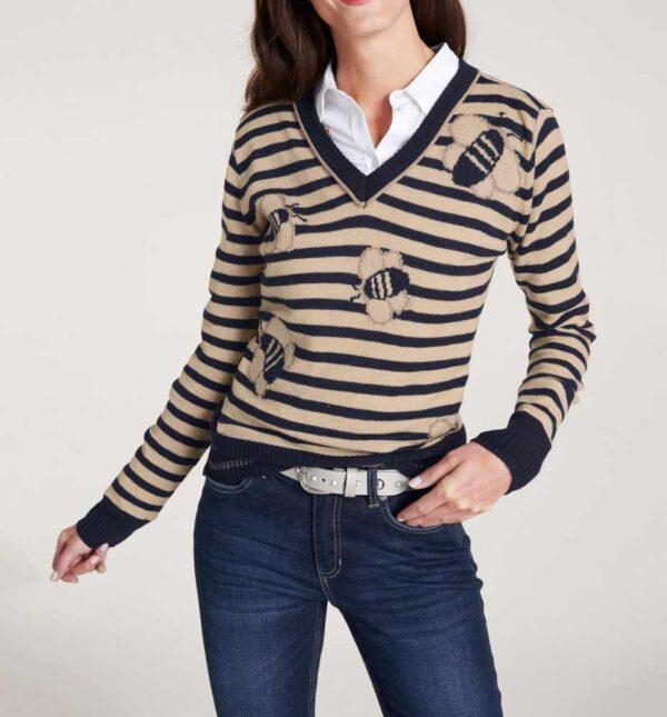 281.337 ASHLEY BROOKE Damen Designer-Feinstrickpullover Marine-Camel Wolle Bienen Motiv
