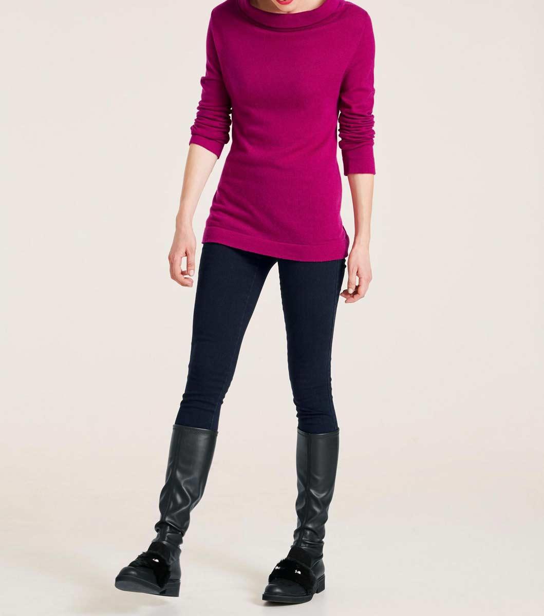 286.620 ASHLEY BROOKE Damen Designer-Rollkragenpullover Cyclam Lila 5% Kaschmir Rolli