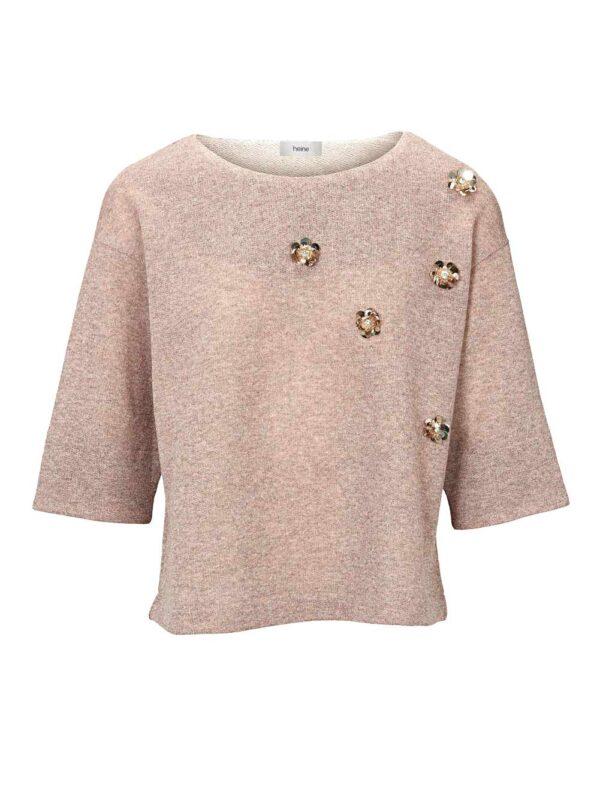 346.915 HEINE Damen Designer-Sweatshirt Halbarm mit Perlen Rosé