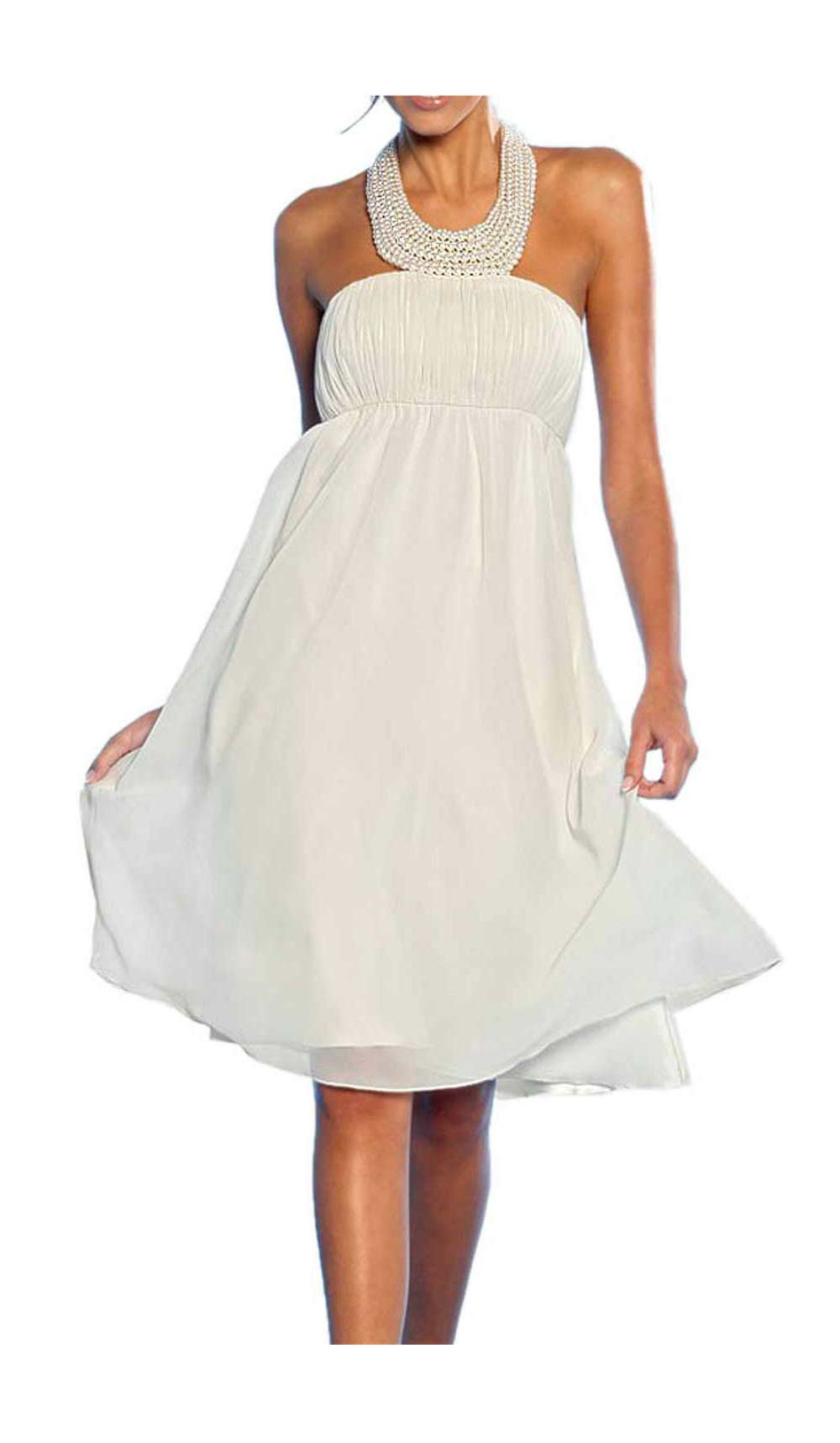 363.111 APART Damen Designer-Chiffon-Abendkleid m. Perlen Creme