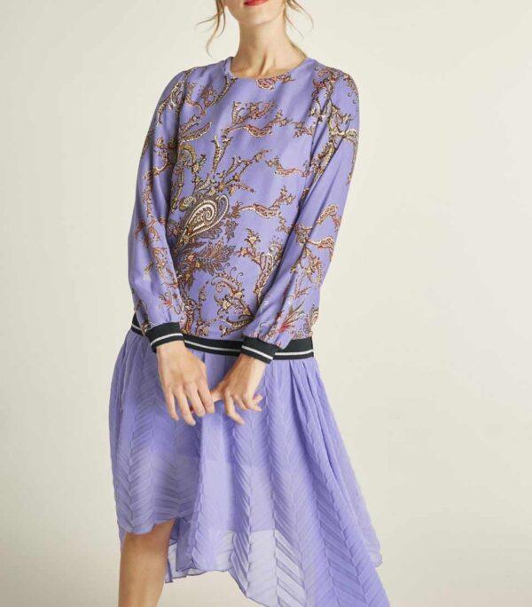 396.416 HEINE Damen Designer-Druckbluse Lavendel-Bunt