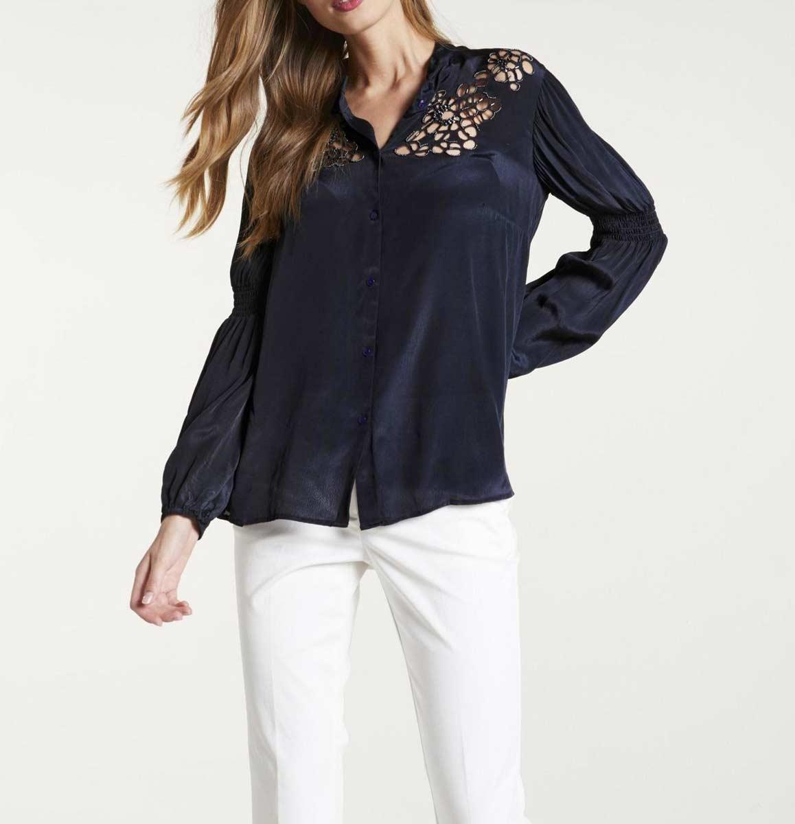 472.328 HEINE Damen Designer-Bluse m. Perlen-Stickerei Nachtblau